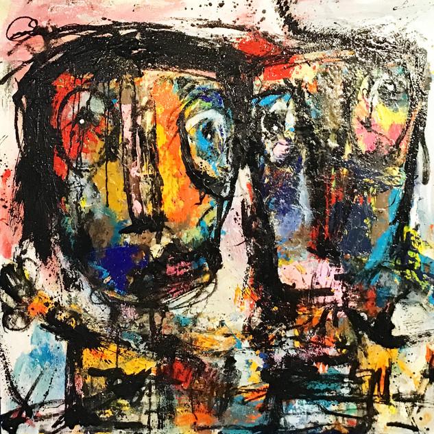 """""""Sans titre"""", 100 cm x 100 cm, technique mixte sur toile, oeuvre originale. DISPONIBLE"""