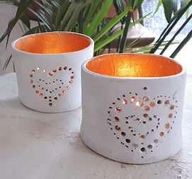 2 candle holders lit jill_ford_ceramics.