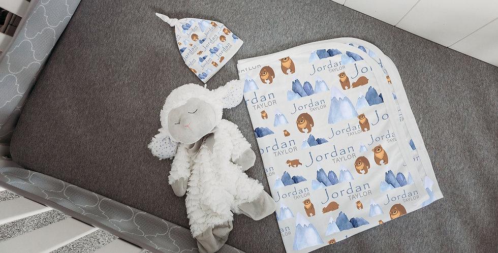 Custom Name Baby Swaddle - Woodland Bear