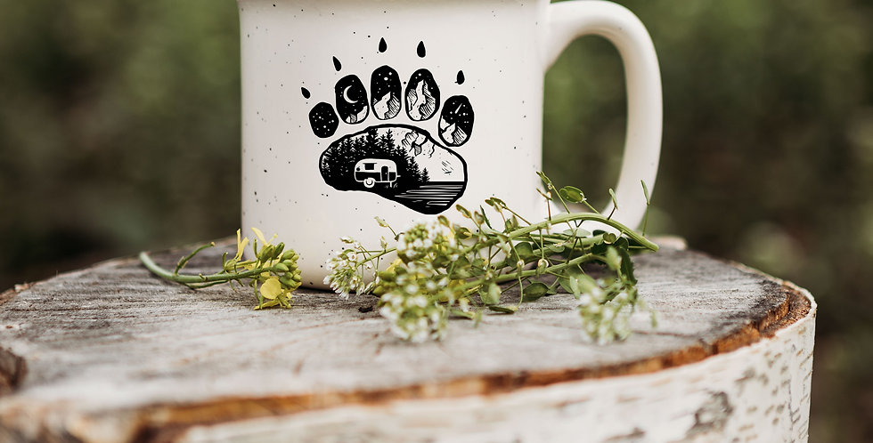 Camping Bear Paw Speckled Campfire Mug