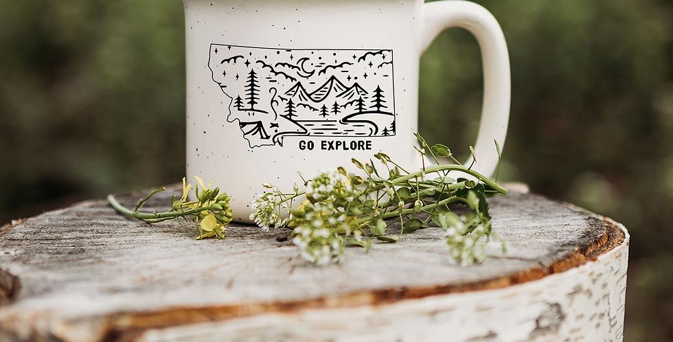 Go Explore Montana Speckled Campfire Mug