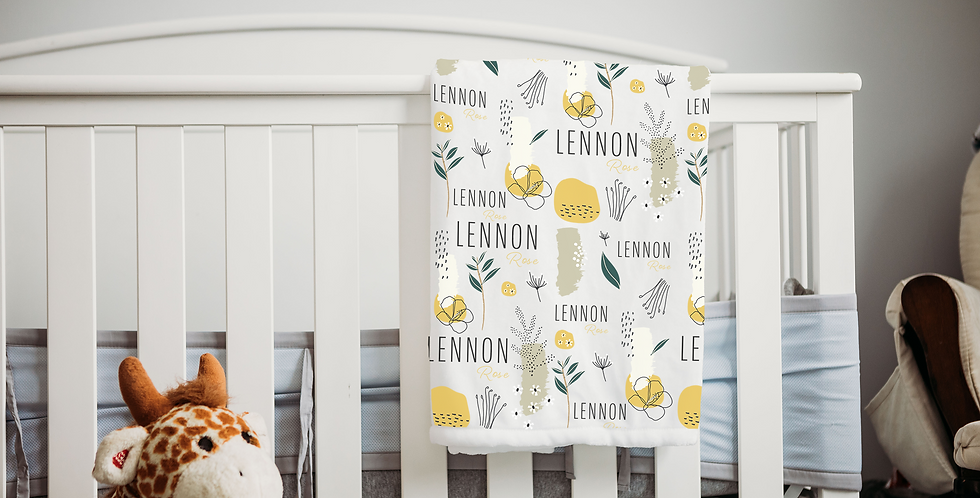 Custom Name Baby Blanket - Yellow Floral
