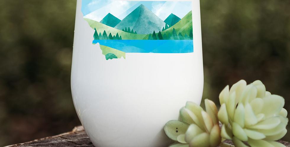 Montana Blue Mountain Illustration Wine Tumbler