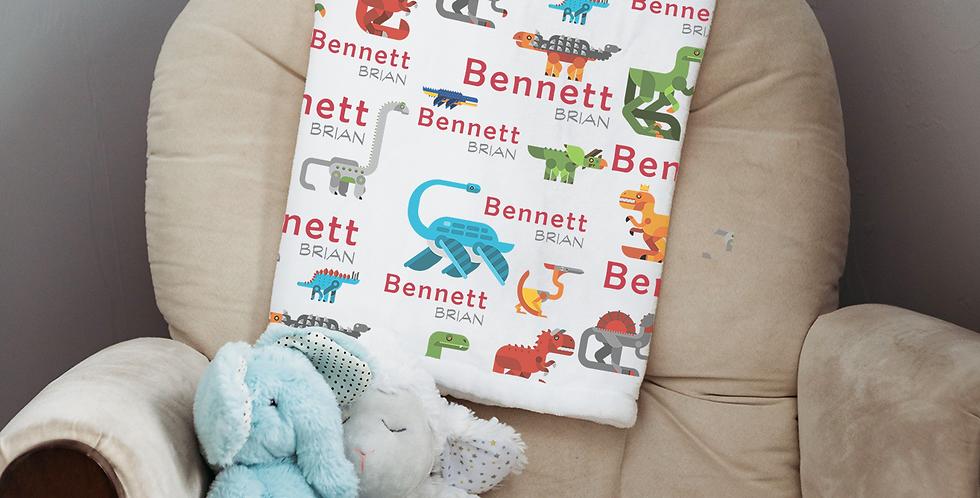 Custom Name Baby Blanket- Techno Dinosaurs