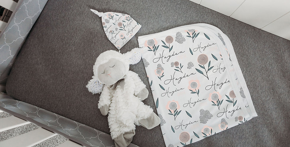 Custom Name Baby Swaddle - Floral Illustration
