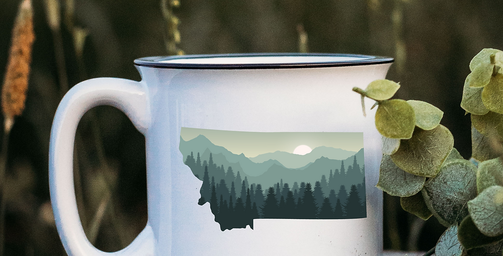 Green Montana Sunset White Campfire Mug