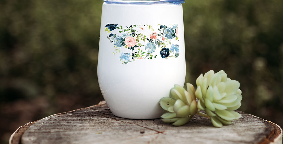 Floral Montana State Wine Tumbler