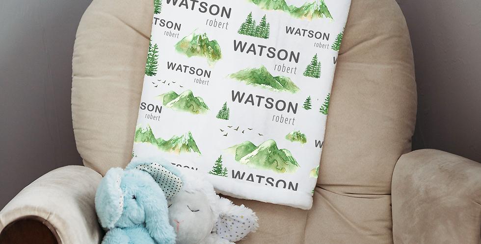 Custom Name Baby Blanket -  Green Mountain Forest