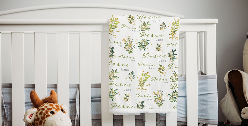 Custom Name Baby Blanket -  Gold & Green Floral