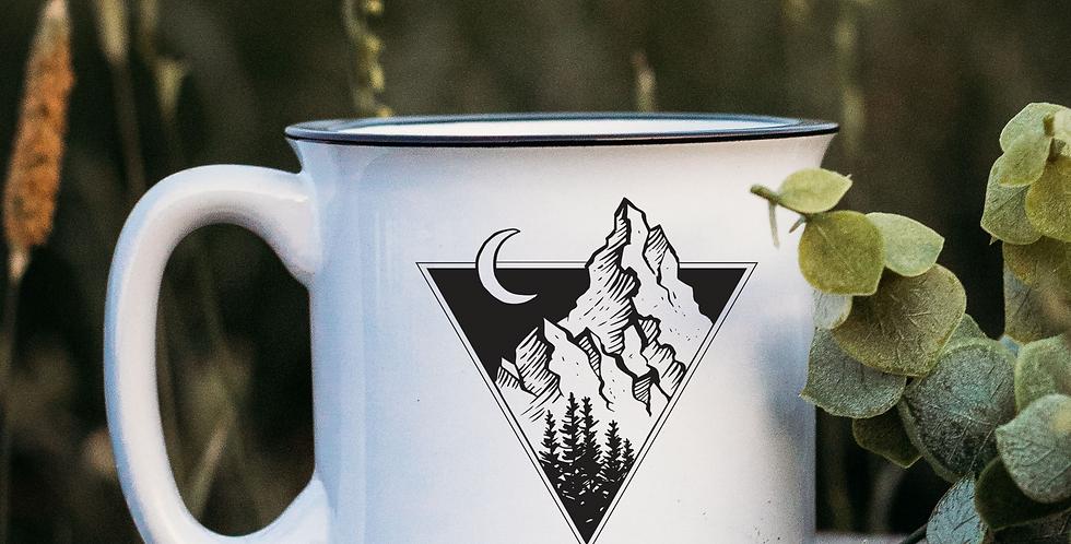 Triangle Mountains White Campfire Mug