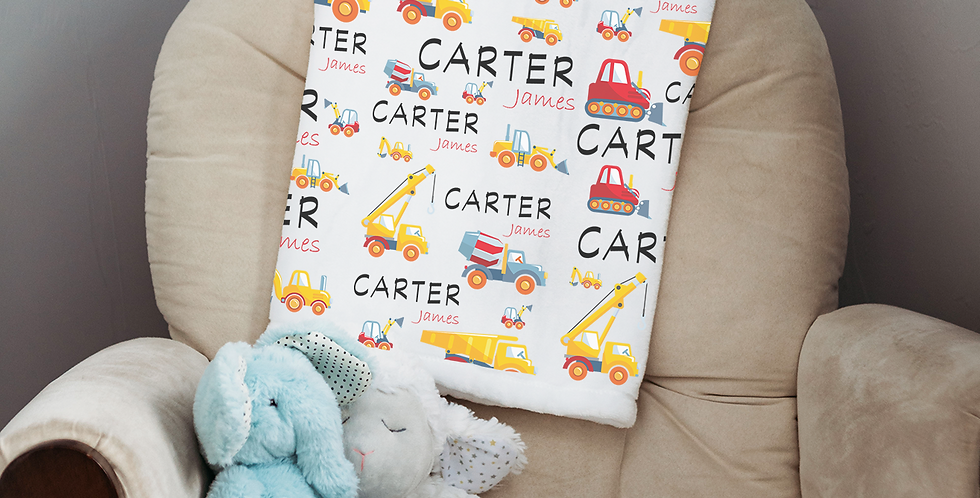 Custom Name Baby Blanket - Construction Trucks