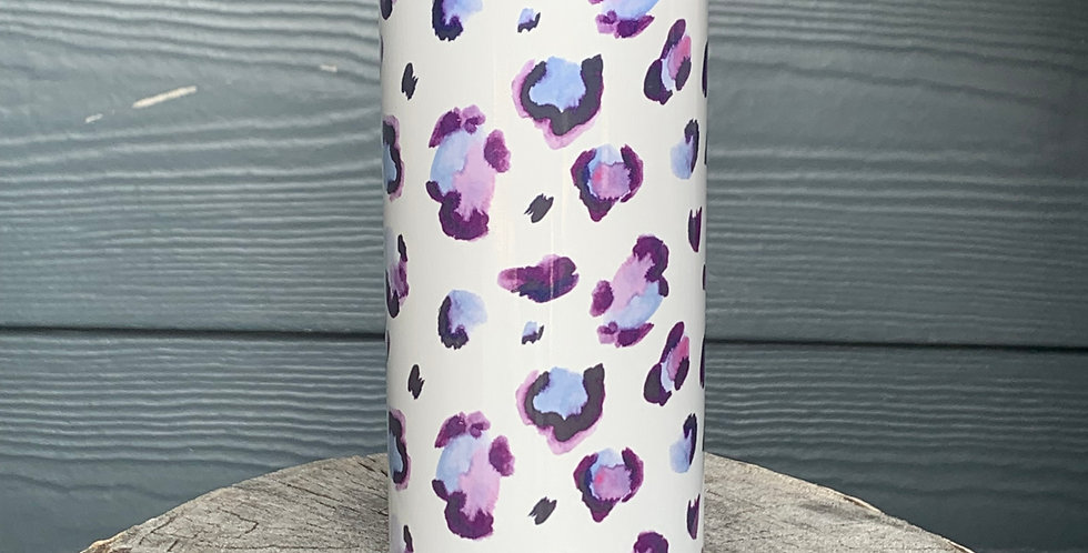 Purple Leopard Skinny Can Cooler