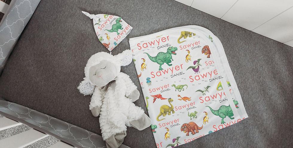 Custom Name Baby Swaddle - Dinosaur