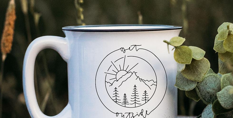 Get Outside White Campfire Mug
