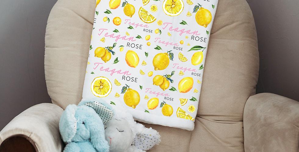 Custom Name Baby Blanket - Lemons