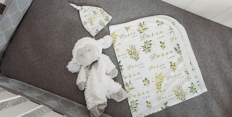 Custom Name Baby Swaddle - Gold & Green Floral