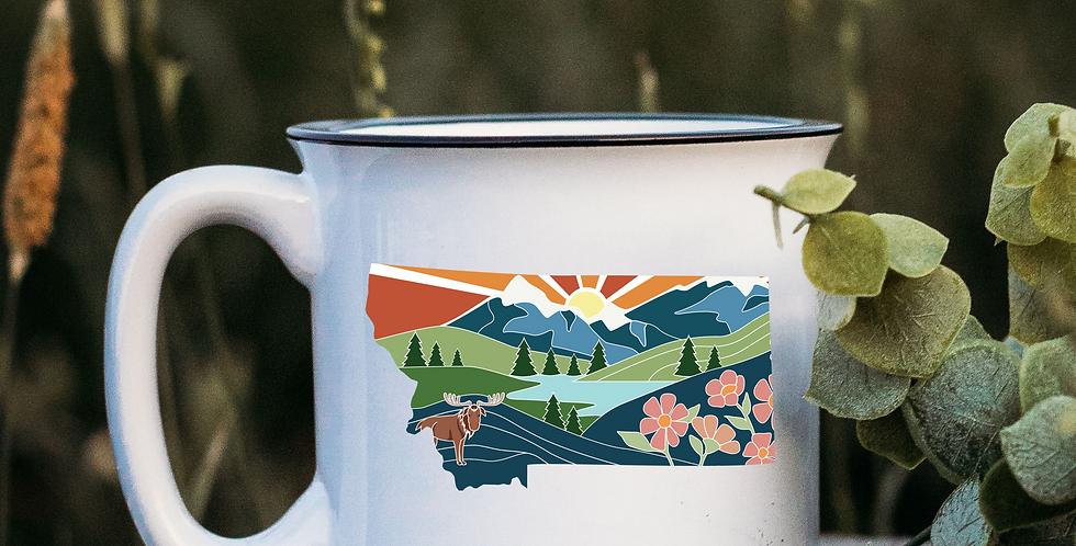 Montana Illustration White Campfire Mug