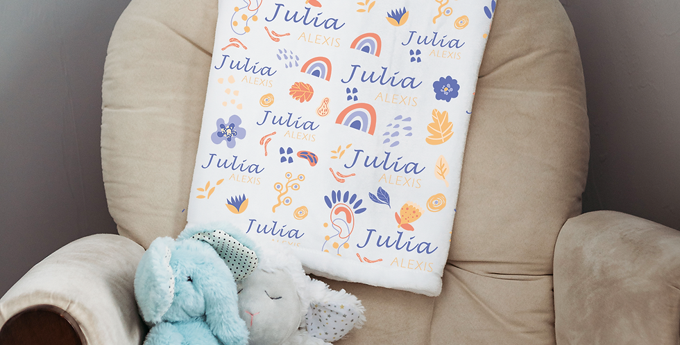 Custom Name Baby Blanket - Funky Floral