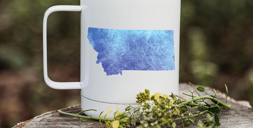 Blue Tie-Dye Montana Coffee Tumbler