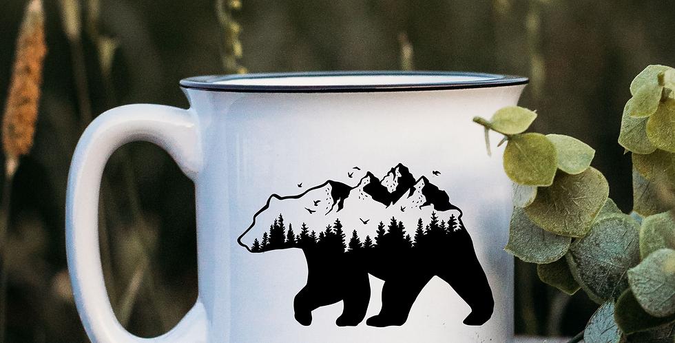 Mountain Bear White Campfire Mug