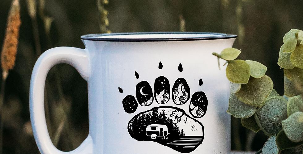 Camping Bear Paw White Campfire Mug