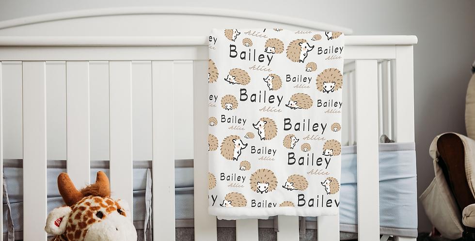 Custom Name Baby Blanket - Hedgehog