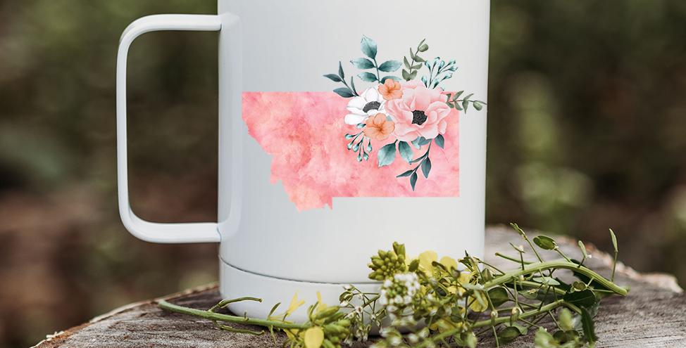 Pink Tie-Dye Floral Montana Coffee Tumbler