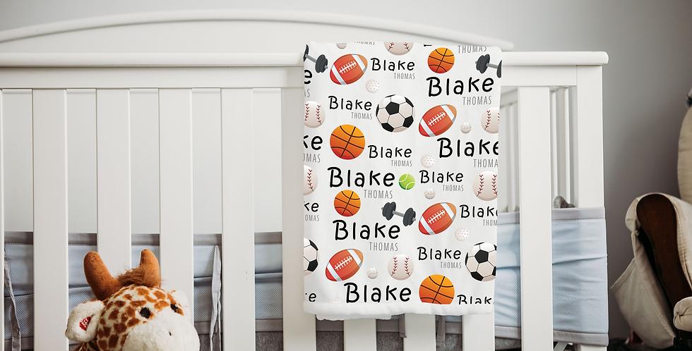 Custom Name Baby Blanket - Sports