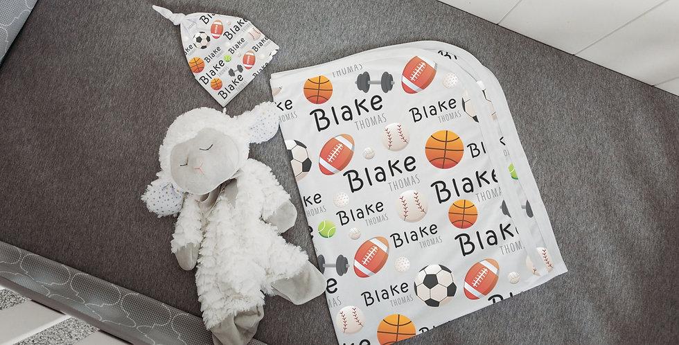 Custom Name Baby Swaddle - Sports