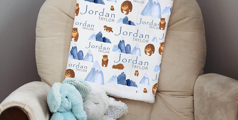 Custom Name Baby Blanket - Woodland Bear