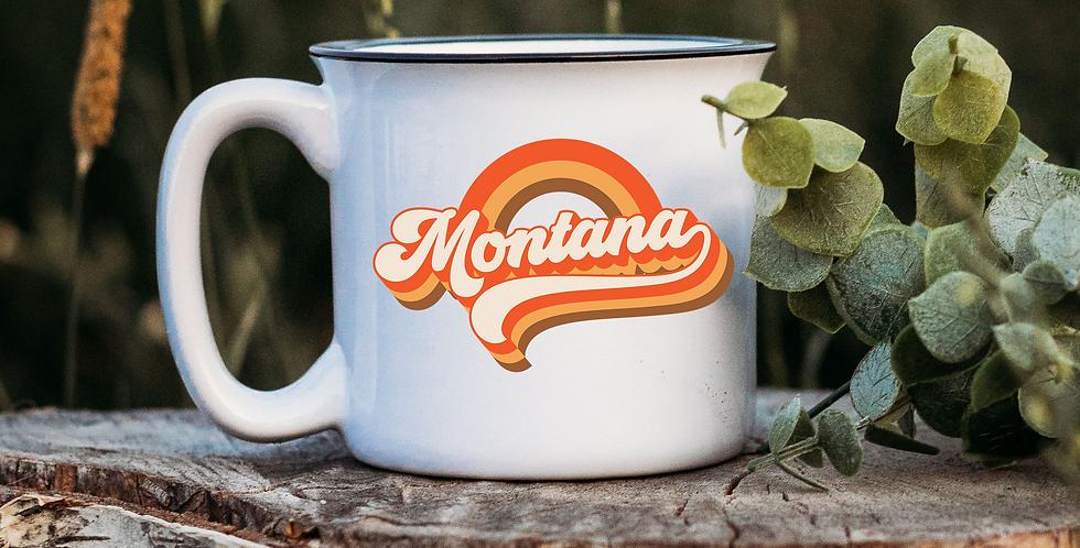 Retro Montana White Campfire Mug