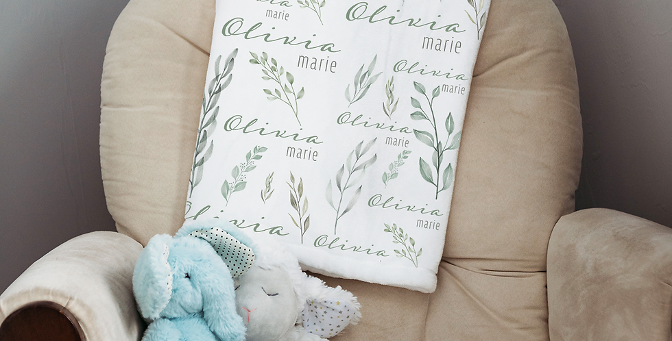 Custom Name Baby Blanket - Floral Sage
