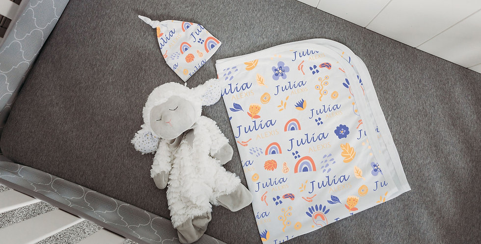 Custom Name Baby Swaddle - Funky Floral