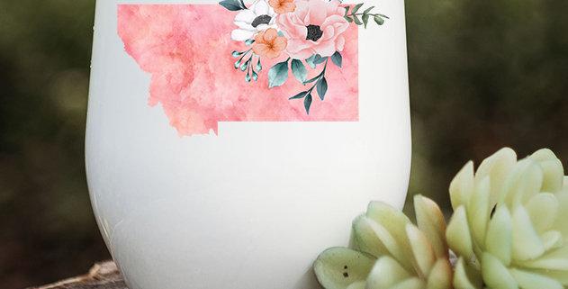 Pink Tie-Dye Floral Montana Wine Tumbler