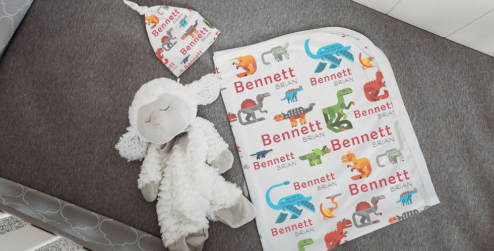 Custom Name Baby Swaddle - Techno Dinosaurs
