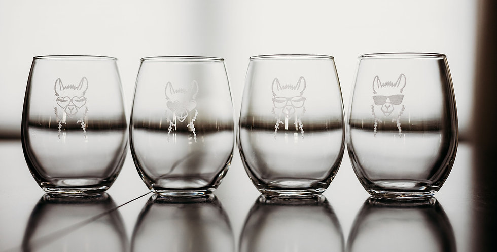 No Drama for Your Llama Set of 4 Stemless Wine Glasses