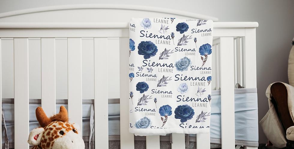 Custom Name Baby Blanket - Blue Rose Floral
