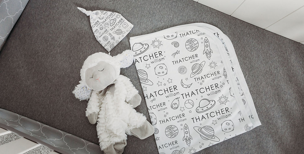 Custom Name Baby Swaddle - Space