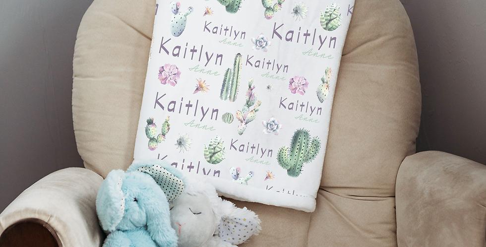 Custom Name Baby Blanket - Floral Cactus