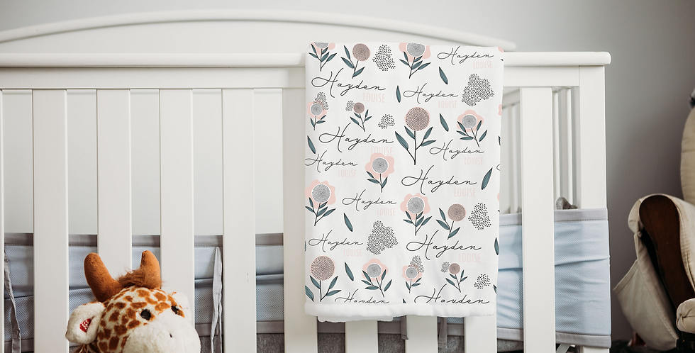 Custom Name Baby Blanket - Floral Illustration
