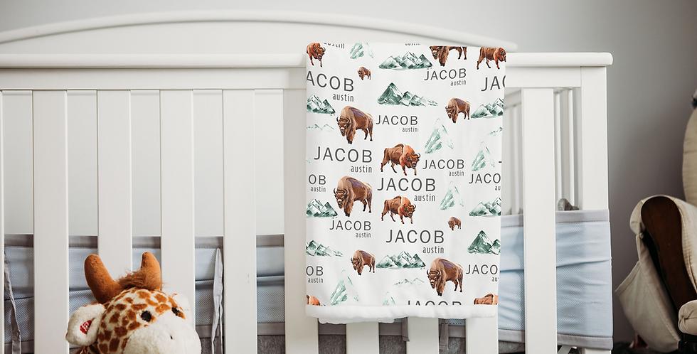 Custom Name Baby Blanket - Woodland Buffalo