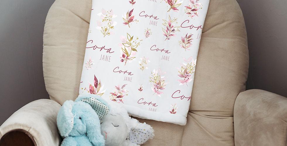 Custom Name Baby Blanket -  Gold & Pink Floral