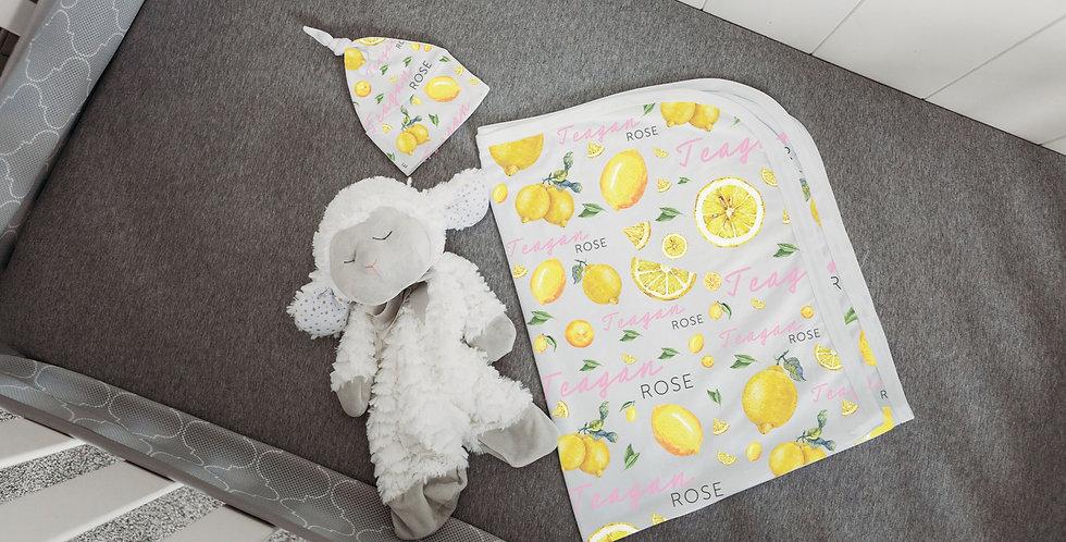 Custom Name Baby Swaddle - Lemons