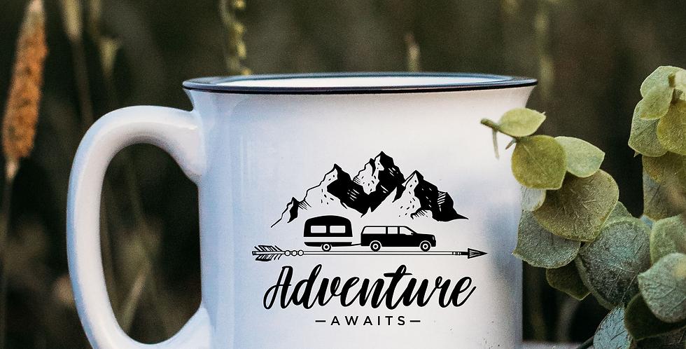 Adventure Awaits White Campfire Mug