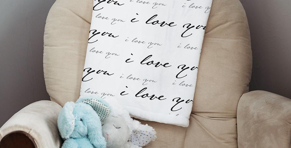 Custom Name Baby Blanket - I love you