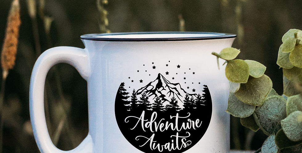 Adventure Awaits Night White Campfire Mug