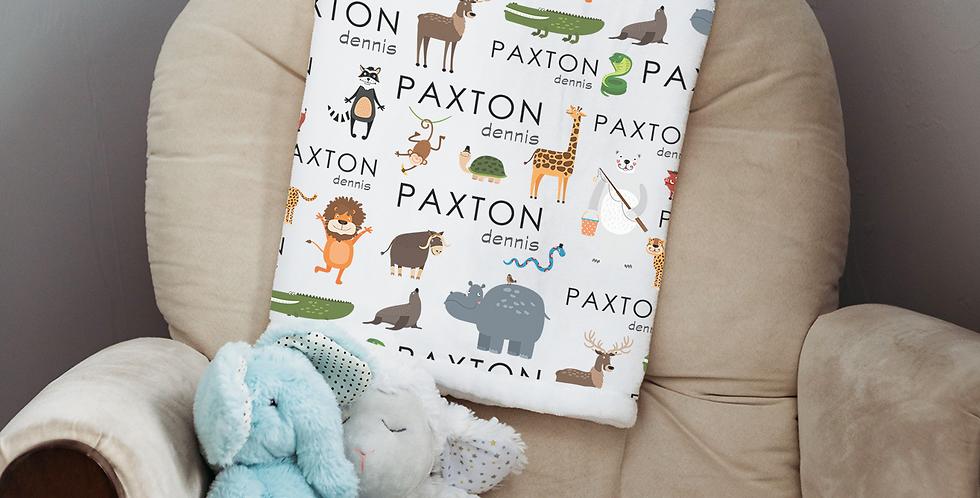 Custom Name Baby Blanket- Zoo Animals