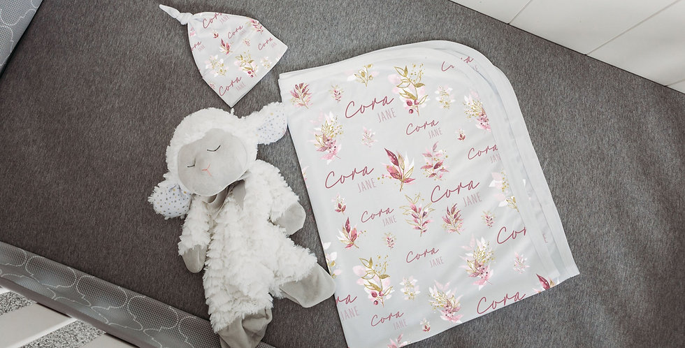 Custom Name Baby Swaddle - Gold & Pink Floral