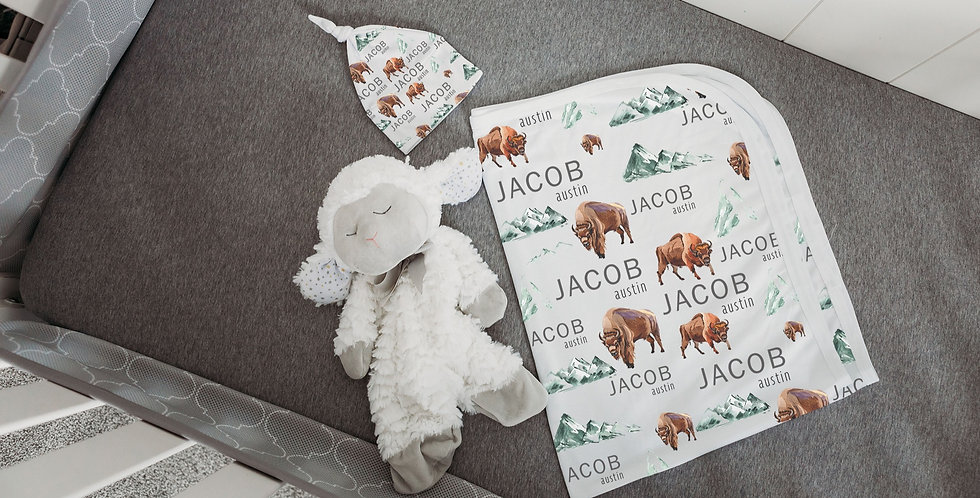 Custom Name Baby Swaddle - Woodland Buffalo