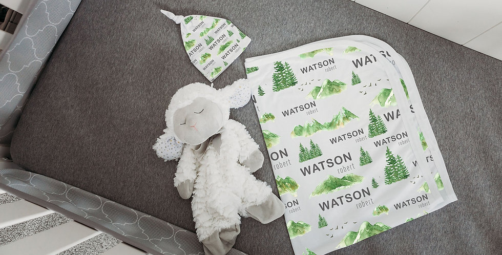 Custom Name Baby Swaddle - Green Mountain Forest